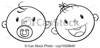 eps vector of a baby faces sketch illustration of two baby faces