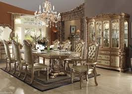 9 dining room set formal dining set traditional style 9pcs gold patina finish dining