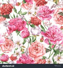 The Pink Peonies by Summer Seamless Watercolor Pattern Pink Peonies Stock Vector
