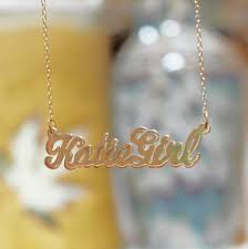 gold necklace with name in cursive gold cursive nameplate necklace o day be monogrammed