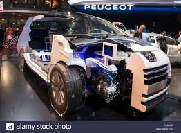 peugeot cars 2012 cut away of peugeot 3008 hybrid 4 diesel car at paris motor show
