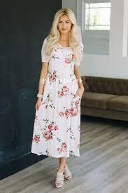 ivory soft mauve floral pocket maxi dress best modest online