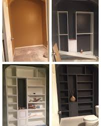 ikea hack powder room built in created with ikea billy bookcase