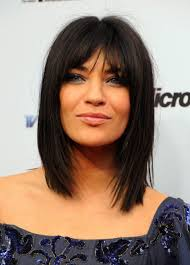 jessica szohr medium choppy layered straight cut with bangs for
