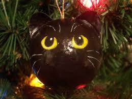 all black fraidy and boo cat ornaments