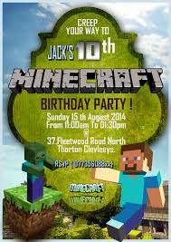 personalise minecraft party invitations thank you cards