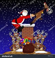 cartoon graphic depicting santa claus being stock vector 64125007