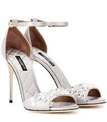 dolce u0026 gabbana keira embellished satin sandals grey silver women