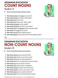 Count And Noncount Nouns Exercises Elementary Grammar Many And Much A Few And A
