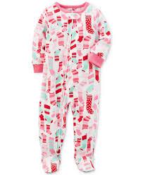 s 1 pc print footed fleece pajamas baby 0