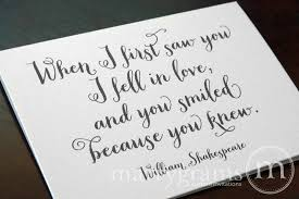 wedding quotes shakespeare wedding quotes for and groom when i saw you card
