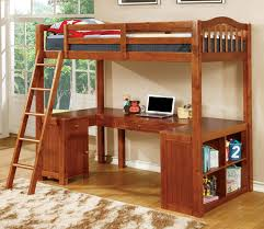U Shaped Desk Oak Wood Loft Bed With U Shaped Desk Below