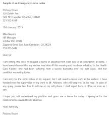emergency leave letter writing professional letters