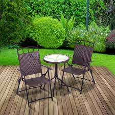 rattan effect bistro set round table two folding chairs