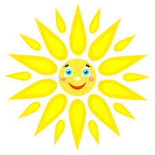 smiling sun with rays of different shapes icon on a white