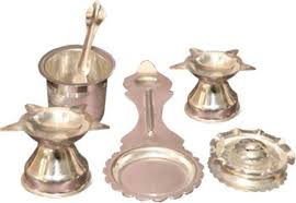 silver items sambhav products combo puja items silver plated pooja thali set