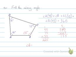 How To Calculate Interior Angles Of An Irregular Polygon Finding The Missing Angle In Quadrilaterals 6th Grade Youtube