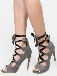 ribbon heels velvet ribbon lace up heels grey shein sheinside