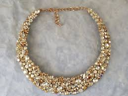 gold statement necklace jewelry images Rose gold swarovski crystal bridal statement necklace the jpg