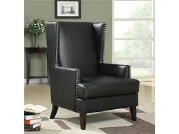 Black Leather Accent Chair Black Leather Like Vinyl Wing Accent Chair By Coaster 902078