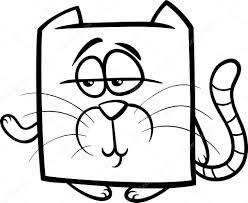 square cat cartoon coloring page u2014 stock vector izakowski 45275723