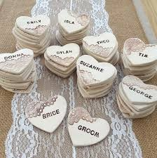 wedding favours personalised rustic lace heart ceramic wedding favours