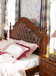 Bedroom Sets From China Leather Upholstery Headboard With Wooden Carving Frame In Bedroom
