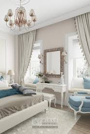 neoclassical bedroom design with blue accents
