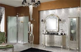Bath Wall Decor by Luxury Bathroom With Silver Vanity Design Sleek Floor Brown Wall