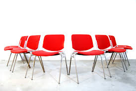 Red Dining Chair Italian Red Dining Chairs Giancarlo Piretti Castelli 1980s