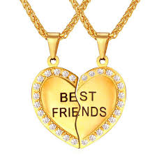 best friend pendant necklace images Best friends heart pendant necklace with rhinestone detail iwisb jpg