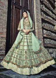 buy pista green color net wedding anarkali salwar kameez in uk
