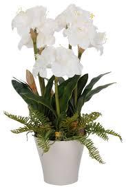 Silk Flower Arrangements Artificial Amaryllis White Ceramic Vase Contemporary