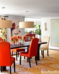 inside a lake house with stunning color carpets the o jays and drum pendants by west elm create a sense of intimacy in the dining room custom