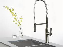 silver industrial style kitchen faucet centerset two handle pull