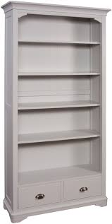 White Bookcase Uk by Lowa Painted Grey U0026 Oak Country Style Large Bookcase With Two Drawers