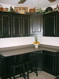 kitchen classic black kitchen cabinet design with 2 stools and