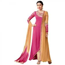exclusive pink and yellow georgette embroidery semi stitched flour
