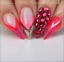luminous nails indian pink with shimmering gold acrylic u0026 gel
