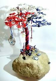 twisted wire beaded tree sculpture with liberty by