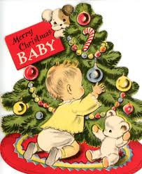 vintage norcross christmas greeting card for baby with tree dog