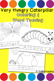 hungry caterpillar coloring u0026 word tracing totschooling