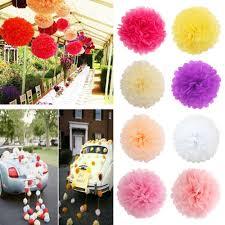 Yellow Pom Pom Flowers - 2pcs tissue paper pom poms flower ball baby shower birthday