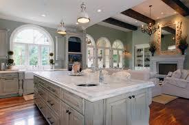 brilliant gray distressed kitchen island with matte black cabinet