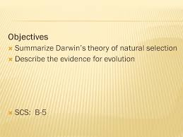 objectives summarize darwin u0027s theory of natural selection