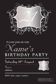 21th birthday invitations evening chic
