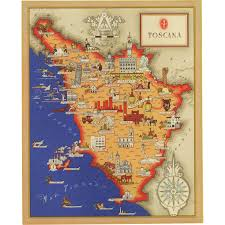 Large Vintage World Map by Original Vintage Pictorial Map Of Tuscany Italy From