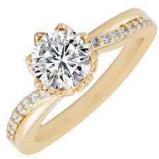 sunflower engagement ring artcarved sunflower setting in 14kt yellow gold 1 3ct tw