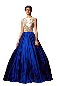 party wear gowns buy blue embroidered semi stitiched party wear gowns online