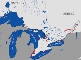 canadian map with great lakes silver lrey great lakes st populations